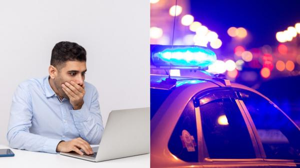 colaj de imagini cu un barbat si o masina de politie