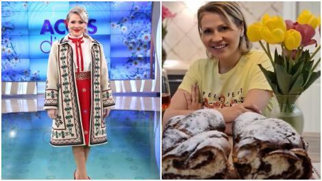 Colaj cu Mirela Vaida, îmbrăcată în costum popular, în platoul Acces Direct și acasă la ea, alături de cozonacii pe care i-a pregătit
