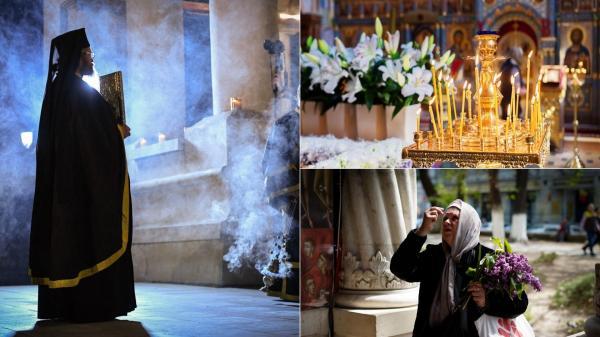 colaj de imagini cu un preot si enoriasii