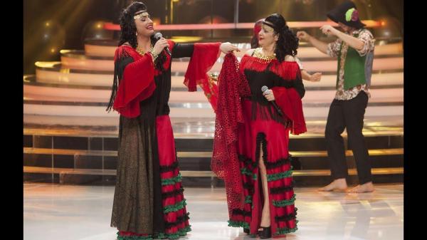 Pepe și Cornelia Catanga, îmbrăcați în rochii roșii, la Te cunosc de undeva!