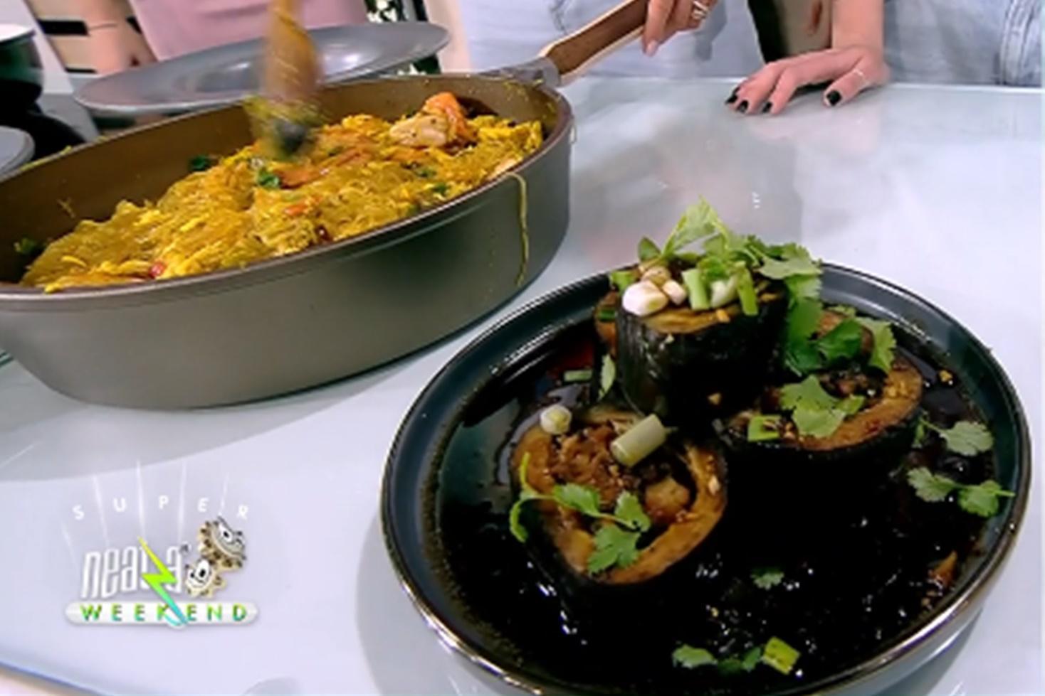 Rețetă de vinete umplute cu creveți, preparată de Nicolai Tand la Neatza de Weekend