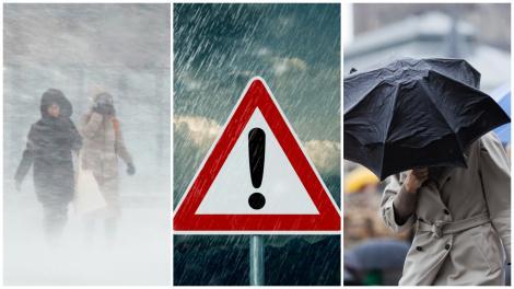 Colaj cu oameni în ninsoare și oameni cu umbrela bătută de vânt