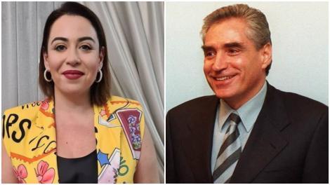 Colaj cu Oana Roman într-o bluză galbenă și Petre Roman într-un sacou negru