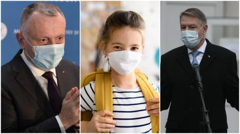 Colaj cu Sorin Cîmpeanu și Klaus Iohannis purtând sacouri negre și un copil cu ghiozdanul în spate, cu mască de protecție