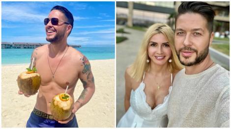Colaj cu Jorge la bustul gol pe plajă și Ramona într-o rochie albă, decoltată, alături de soțul ei