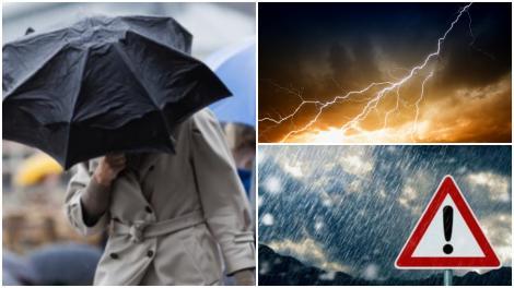 Colaj cu o persoană ținând o umbrelă luată de vânt, fulger și ploaie