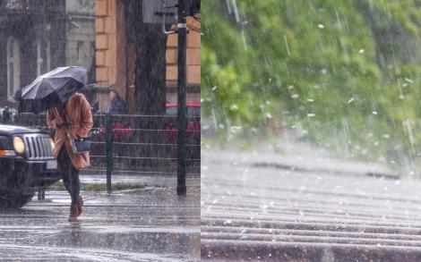 Cod galben și cod portocaliu de ploi torențiale, vijelii și grindină în aproximativ jumătate de țară. Ce zone sunt afectate