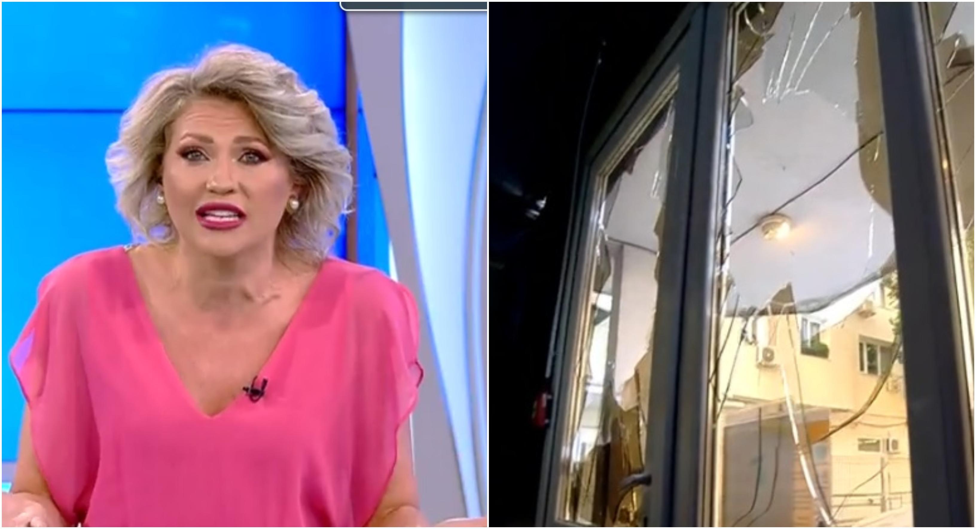 Atac la echipa Acces Direct. Femeia dezbrăcată cu pietroiul a revenit, Mirela Vaida, în lacrimi. Sediul are geamurile sparte