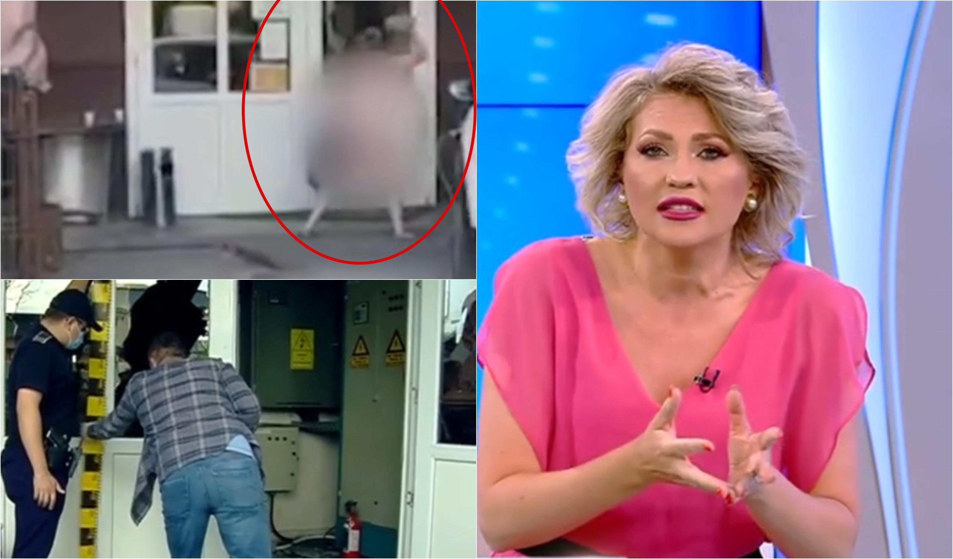 Acces Direct. Momentul când femeia dezbrăcată sparge geamurile sediului. Imagini surprinse de camerele de supraveghere