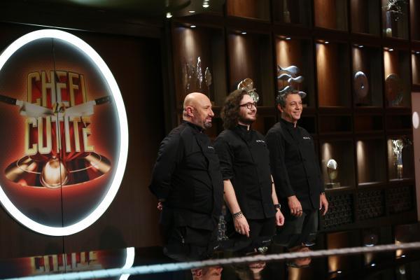 Sorin Bontea, Florin Dumitrescu și Cătălin Scărlătescu in platoul chefi la cutite, sezonul 9