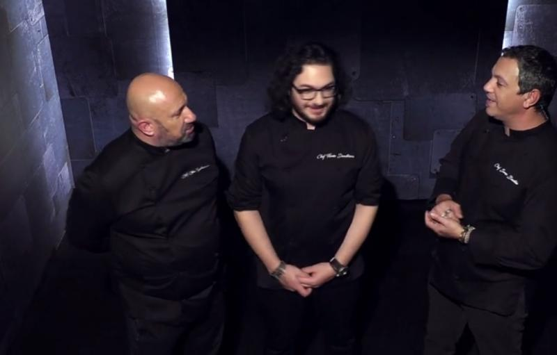 Florin Dumitrescu, Sorin Bontea și Cătălin Scărlătescu in camera de asteptare de la chefi la cutite