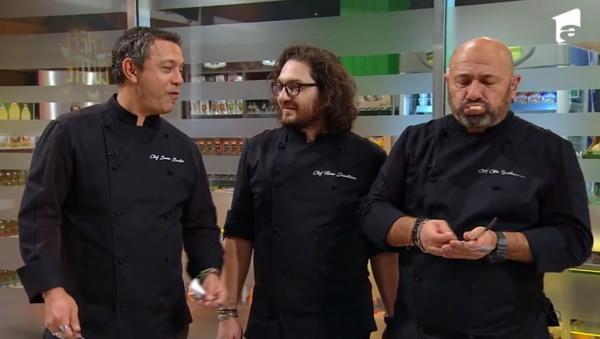 """Sorin Bontea, Florin Dumitrescu și Cătălin Scărlătescu degustand in prima proba de bootcamp de la """"Chefi la cuțite"""""""