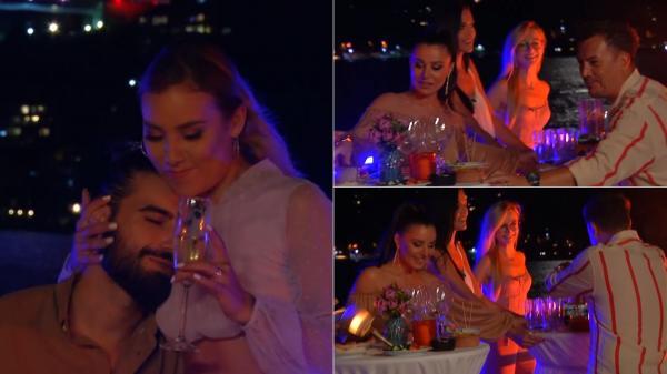 colaj de imagini cu fetele la petrecerea glam de pe iaht