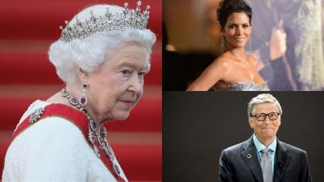 Colaj de trei fotografii cu Regina Elisabeta, Bill Gates si Halle Berry