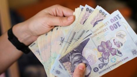O persoană care numără lei românești, detaliu bani și mâini