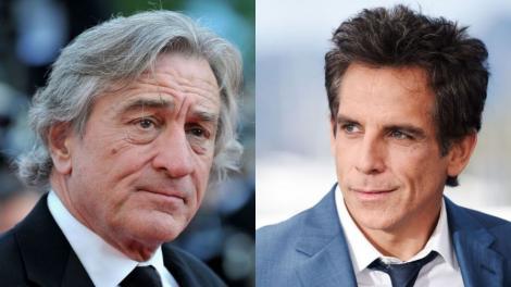 Colaj de două fotografii: în stânga, Robert de Niro, la costum, în dreapta, Ben Stiller, în costum și el