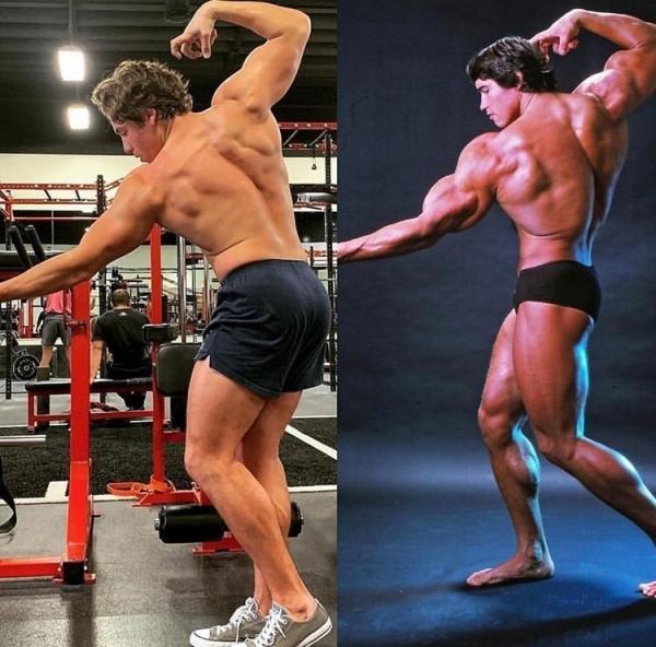 În stânga, Joseph Baena, fiul pe care Arnold Schwarzenegger, iar în dreapta este Arnold Schwarzenegger