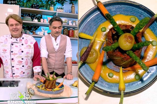 Coastele de porc se servesc cu legume la cuptor și sos