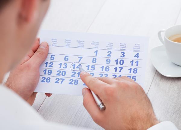 imagine cu un barbat privind un calendar