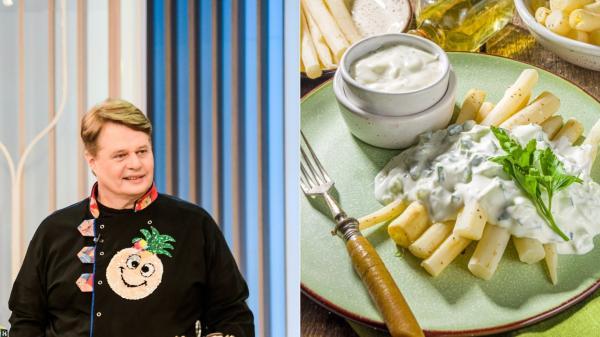 colaj de imagini cu vladut de la neatza si o farfurie cu sparanghel in sos olandez