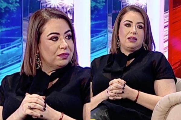 Oana Roman, prezentă la o emisiune tv, îmbrăcată în negru