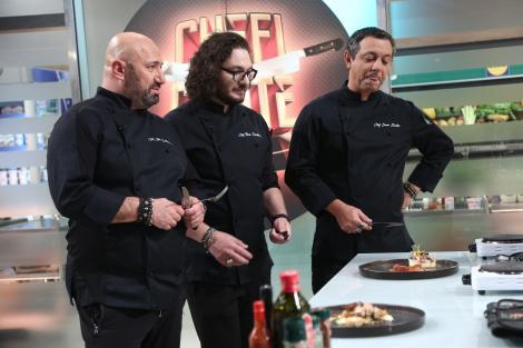 """Sorin Bontea, Florin Dumitrescu și Cătălin Scărlătescu degustand in a doua proba de bootcamp de la """"Chefi la cuțite"""""""