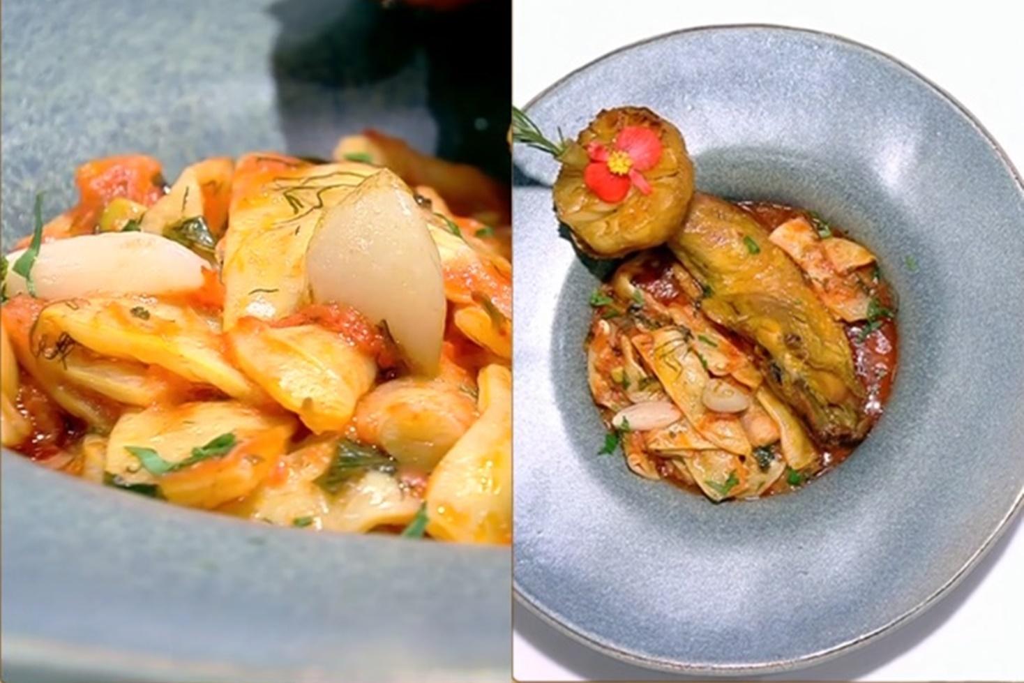 Mâncare scăzută de fasole galbenă cu sos de roșii și usturoi, preparată de Vlăduț la Neatza cu Răzvan și Dani
