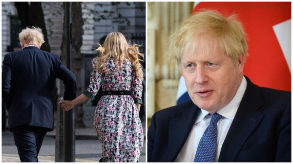 Colaj cu Boris Johnson îmbrăcat la costum și Carrie Symonds  în rochie înflorată, cu spatele