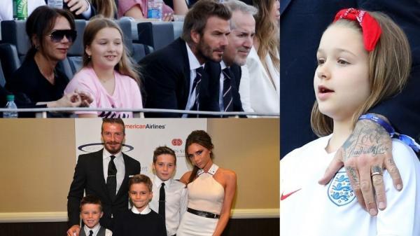 Colaj de mai multe fotografii cu Victoria și David Beckham împreună cu copiii lor