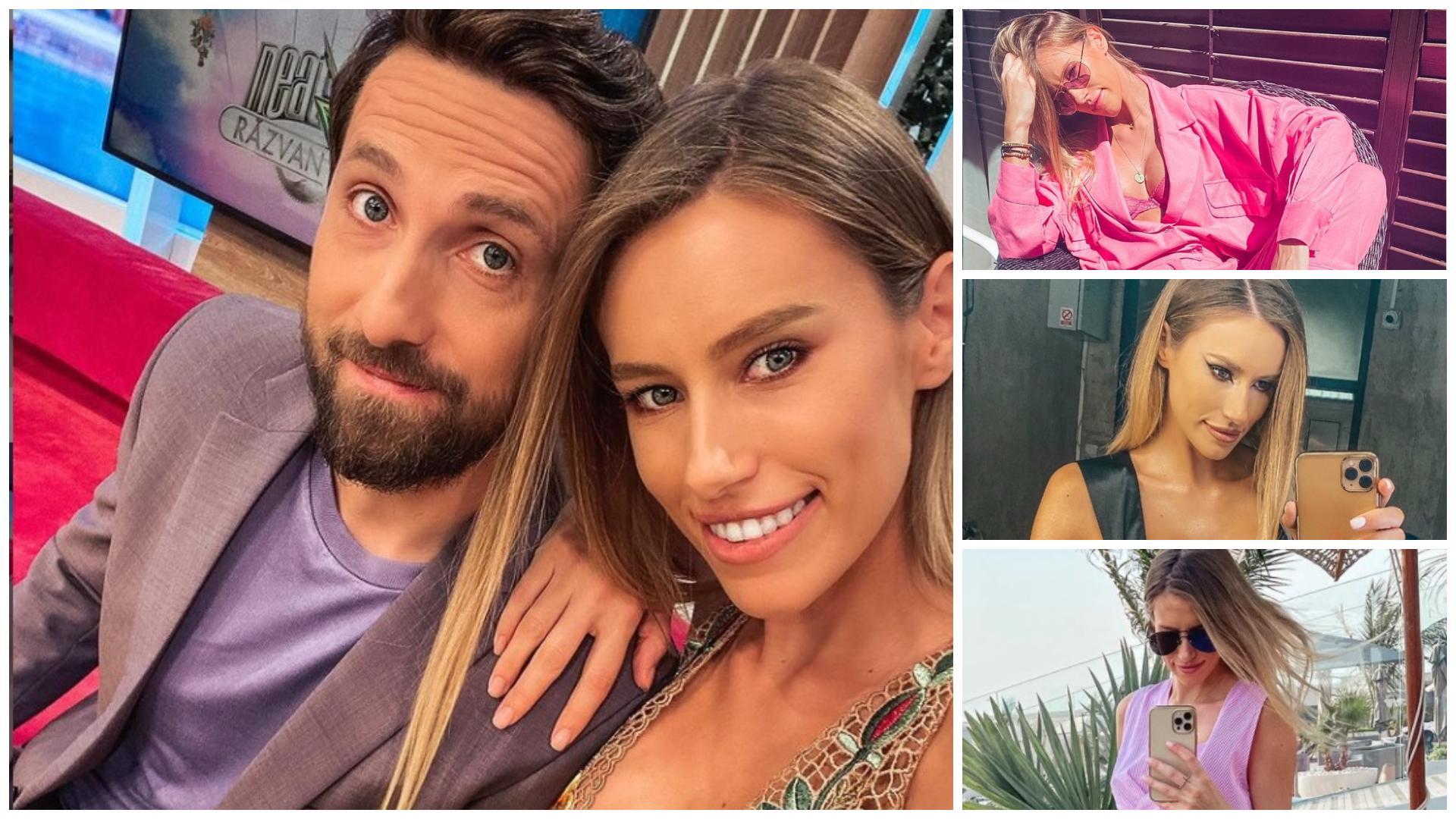 Colaj cu Dani Oțil și logodnica lui. Gabriela Prisăcariu poartă un maiou înflorat, un corset negru, o bluză roz și o rochie roz