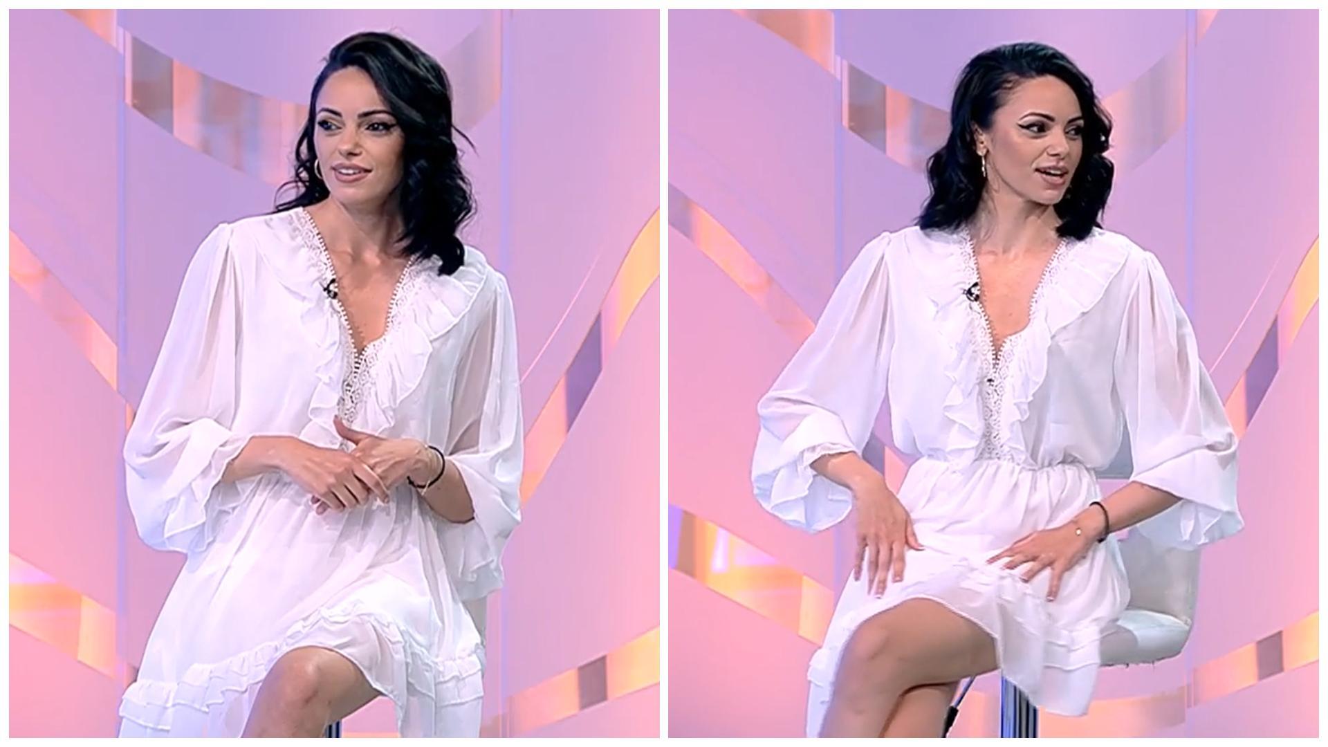 """Cosmina Adam, apariție răvășitoare în platoul """"Acces Direct"""". Cu ce pantofi îndrăzneți și-a asortat rochia albă"""