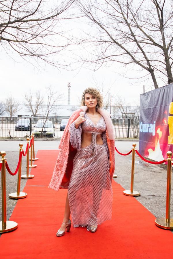 Anna Lesko, pe covorul roșu, într-o ținută argintie