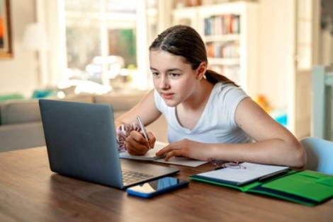 imagine cu o elevă, in fata unui laptop, la birou