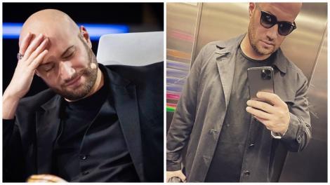 Colaj cu Mihai Bendeac îmbrăcat în negru la iUmor și în gri, în lift