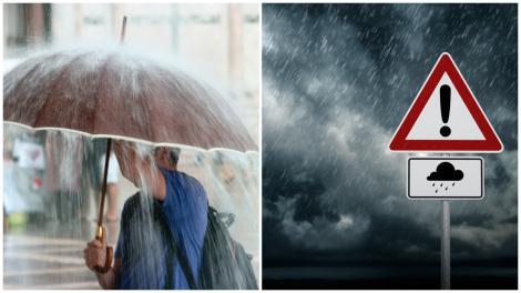 Colaj cu umbrelă ploaie și un bărbat cu umbrelă