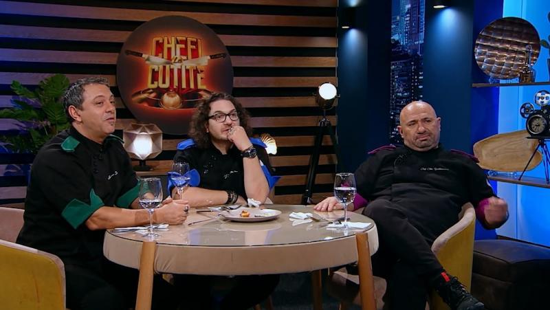 """Sorin Bontea, Florin Dumitrescu și Cătălin Scărlătescu, la """"Chefi la cuțite"""""""