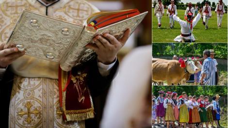 colaj de imagini cu un preot, calusari si oameni din ardeal de rusalii 2021