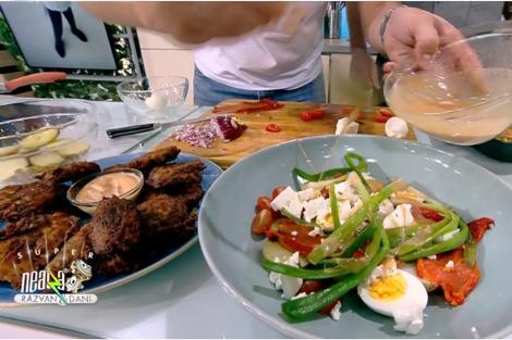 Marinadă pentru macrou, salată de cartofi și chiftele de legume