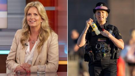 Colaj două fotografii cu Penny Lancaster, soția superstarului Rod Stewart, îmbrăcată în uniforma de poliție, în dreapta, și în stânga, invitată la o emisiune