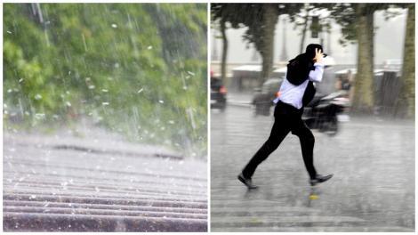Colaj cu ploaie și persoană alergând prin ploaie