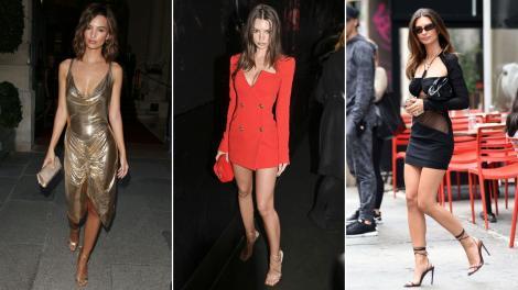 Colaj de trei fotografii cu Emily Ratajkowski îmbrăcată foarte sexy, în rochii mai lungi sau mai scurte