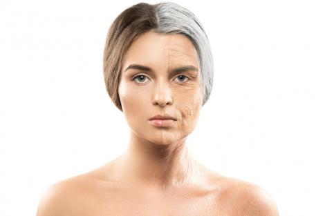 Conceptul îmbătrânirii. Jumătate de față de femeie bătrână și jumătate de față de femeie tânără