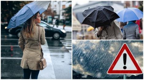 Colaj cu persoane cu umbrele, în ploaie