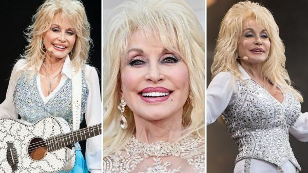 Colaj de trei fotografii cu Dolly Parton în concerte