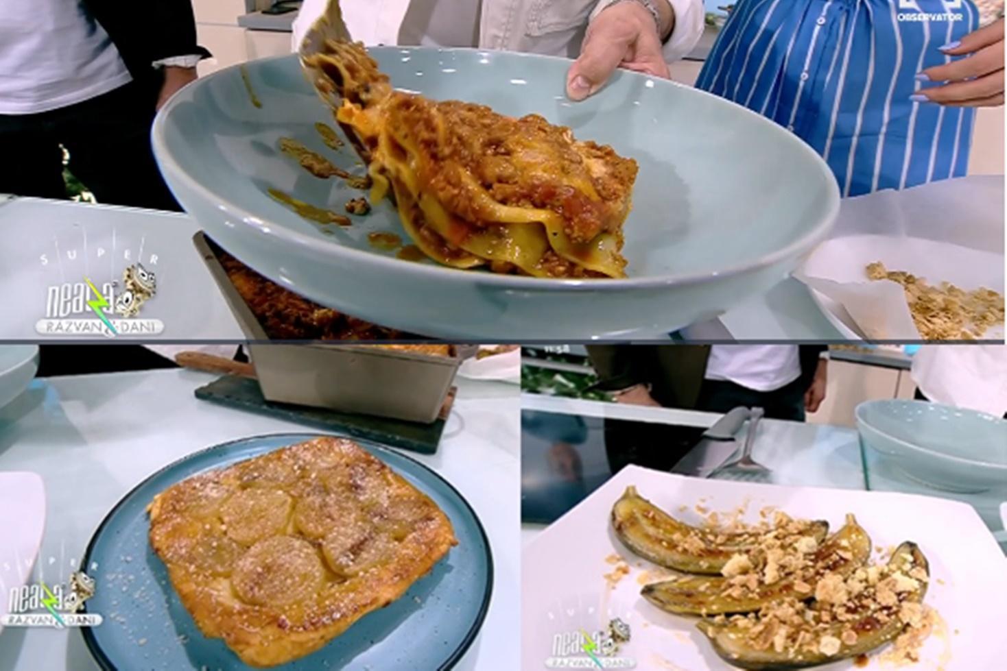 Tartă cu ceapă caramelizată, lasagna delicioasă și banane caramelizate, rețetele lui Nicolai Tand la Neatza cu Răzvan și Dani