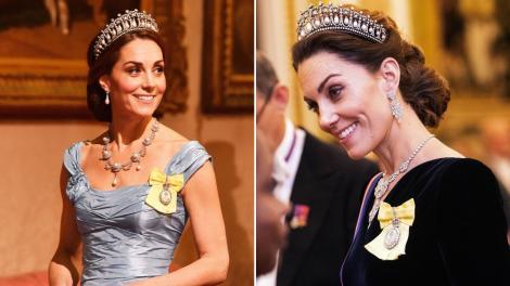 Colaj de două fotografii cu Kate Middleton, îmbrăcată elegant, accesorizată cu bijuterii