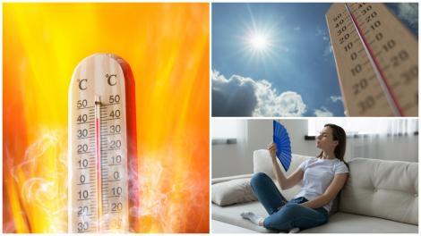 Termometru și o femeie care își face aer cu evantaiul