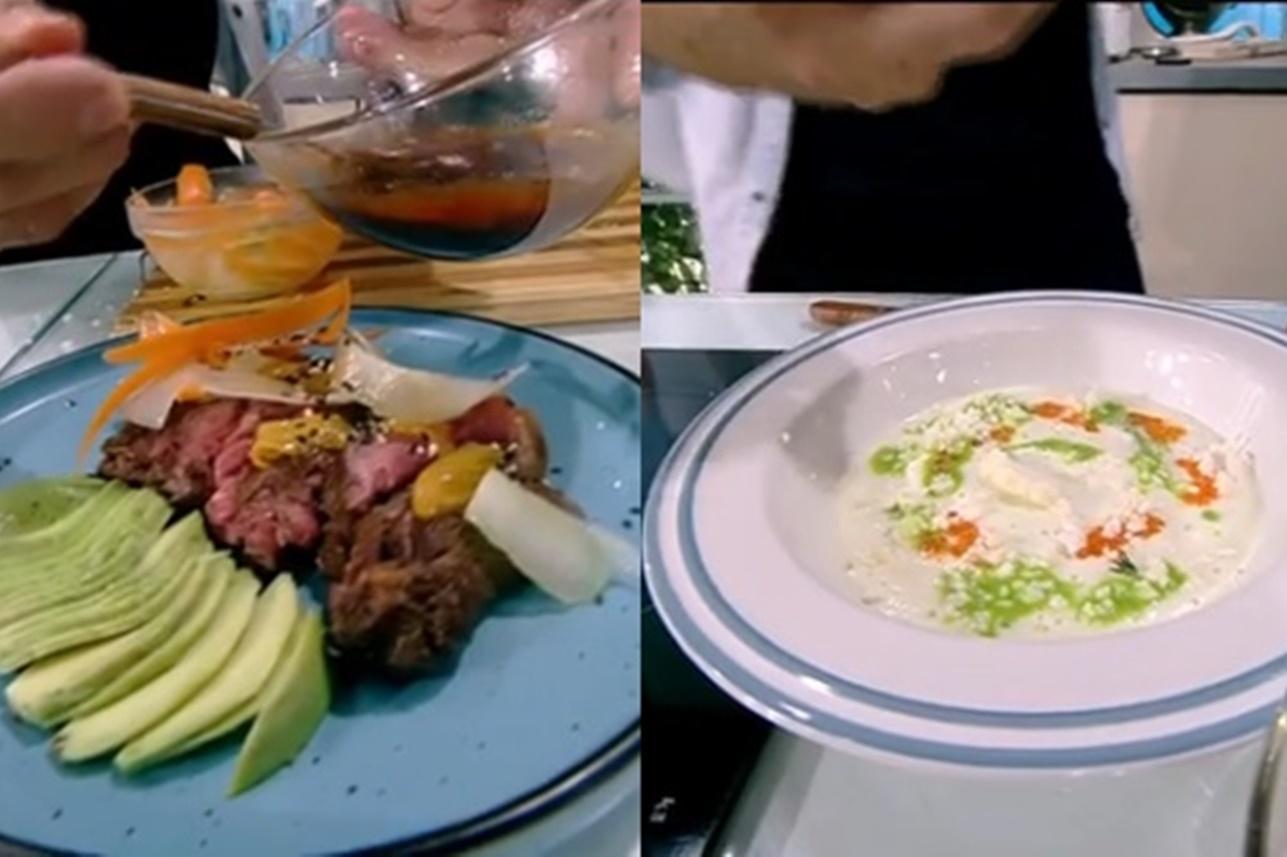 Rețetă de aperitiv din mușchi de vită cu avocado și rețetă de spumă de conopidă, gătite de Nicolai Tand la Super Neatza