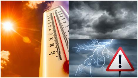 Alertă meteo! Cod galben și cod portocaliu de vijelii și caniculă. Care zone vor fi cel mai puternic afectate de vremea rea