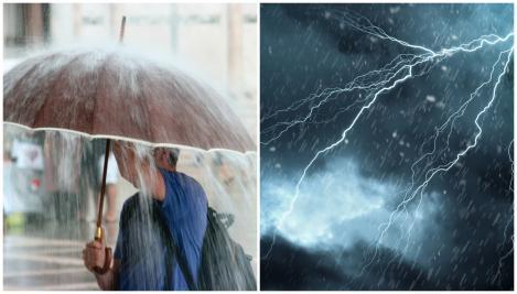 Un om cu umbrela, ploaie și tunete